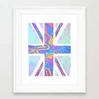 holographic Framed Art Prints featuring Holographic Union Jack  by Berberism