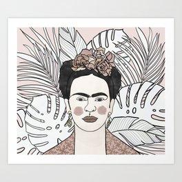 frida kahlo in pink Art Print