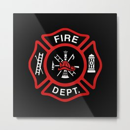 Fire Department Red Badge Metal Print