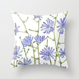 blue chicory watercolor Throw Pillow