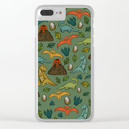 Dinosaurs, Jurassic Art, Volcanos and T-Rex, Dino Print Clear iPhone Case