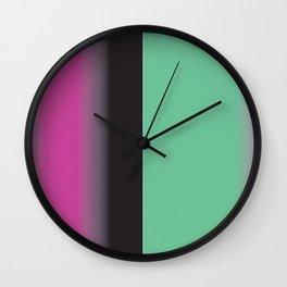 Pink, Black and Turq Gradient Stripe Wall Clock