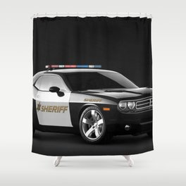 Challenger Sheriff Highway Patrol Police Car Shower Curtain