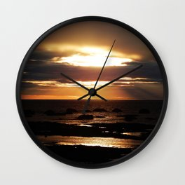 Golden Sunset Delight Wall Clock