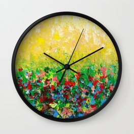 NATURE'S LIVING ROOM - Gorgeous Bright Bold Nature Wildflower Field Landscape Abstract Art New 2012 Wall Clock