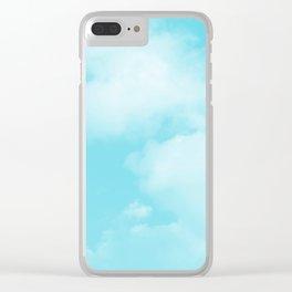 Aqua Blue Clouds Clear iPhone Case