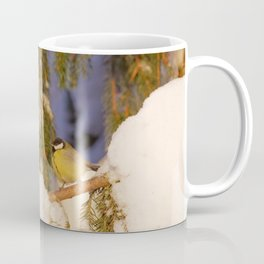 A great tit with snow on its beak Coffee Mug