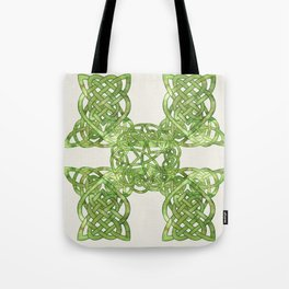 Celtic Knot:  Green Watercolor with complex form - Ireland - traditional folk art Tote Bag