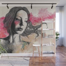 Hexagram (street art elegant lady portrait) Wall Mural