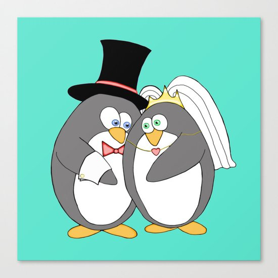 Penguin Married Love Turquoise Canvas Print
