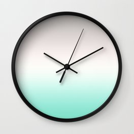 Grey, white, turquoise gradient, Ombre. Wall Clock