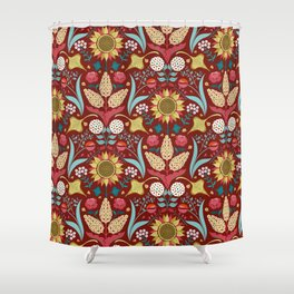 Florid Dreams Red Shower Curtain