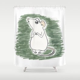 Squeak, the Tiny Inktober Mouse Shower Curtain