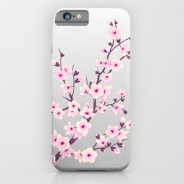 Cherry Blossom Pink Gray iPhone Case