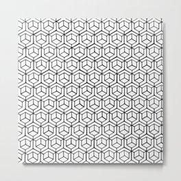 Hand Drawn Hypercube Metal Print
