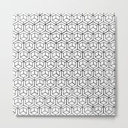 Hand Drawn Hypercube Metal Print