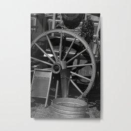 Cowboy wagon wheel Metal Print