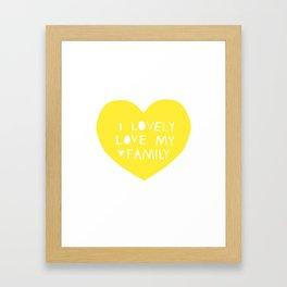 Lovely Love My Family in Yellow Framed Art Print