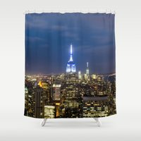 new york city Shower Curtains featuring New York City, New York by Stuart Saunders