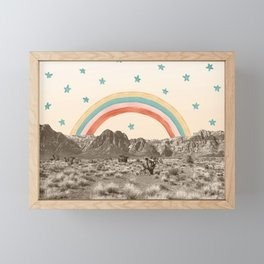 Canyon Desert Rainbow // Sierra Nevada Cactus Mountain Range Whimsical Painted Happy Stars Framed Mini Art Print