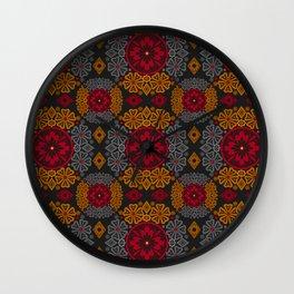 Colorful autumn ornament . Wall Clock