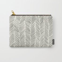 Herringbone Black on Cream Carry-All Pouch