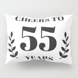 Cheers to 55 Years. 55th Birthday Party Ideas. 55th Anniversary Pillow Sham