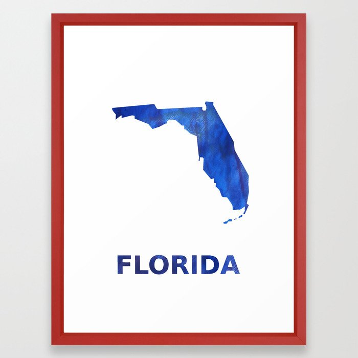 Florida Map Outline Blue Watercolor Framed Art Print By Genrus