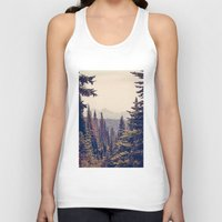postcard Tank Tops featuring Mountains through the Trees by Kurt Rahn