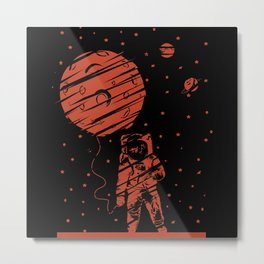 Astronaut Walk With The Moon Metal Print