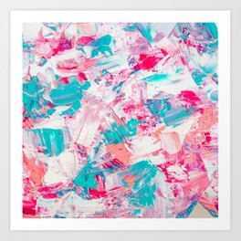 Modern bright candy pink turquoise pastel brushstrokes acrylic paint Art Print