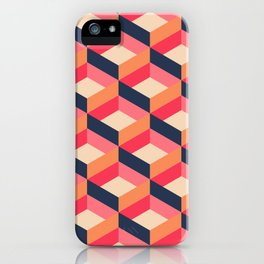 Retro Geo - Navy & Pink iPhone Case