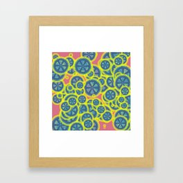 Random blue gearwheels Framed Art Print