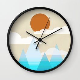 Sun, Clouds and Mountains Wall Clock