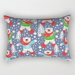 Polar Bears Dancing in the Snow, playing snowballs Rectangular Pillow