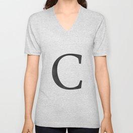 Letter C Initial Monogram Black and White Unisex V-Neck