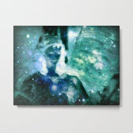 Blue Teal Celestial Angel Metal Print