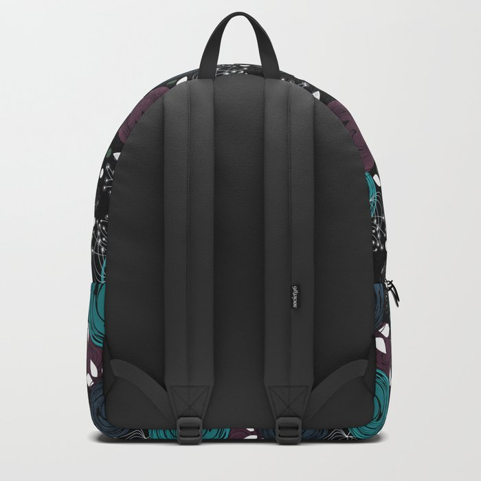 Abstract flowers on a black background . Backpack