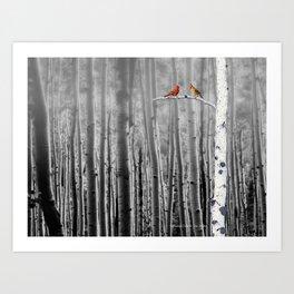 Red Cardinals in Birch Forest A128 Art Print