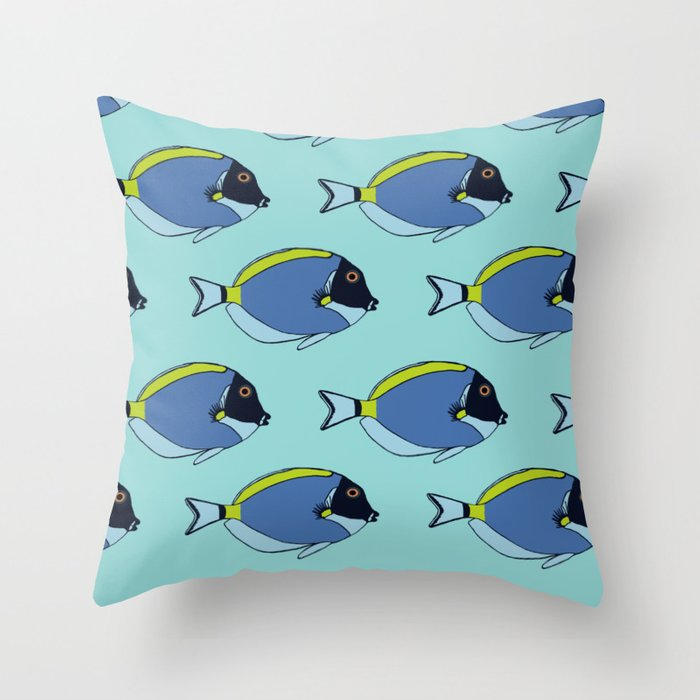 Powder blue surgeon fish pattern Throw Pillow