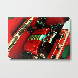 Sports Car Engine in Red Metal Print