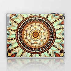 Sketched Mandala Design On A Blue Textured Background Laptop & iPad Skin