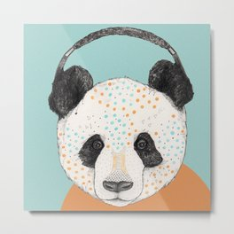 Polkadot Panda Metal Print
