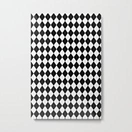 Black White Argyle Pattern Geometric Metal Print