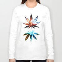 marijuana Long Sleeve T-shirts featuring Marijuana Leaf - Design 1 by Spooky Dooky