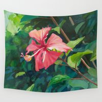 hibiscus Wall Tapestries featuring Hibiscus by Katie Lillard Art