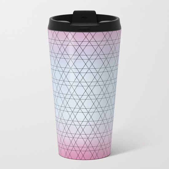 Blue Diamonds and Pink Shades Metal Travel Mug