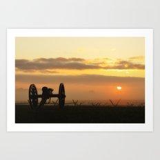 Sunrise on a foggy Battlefield Art Print