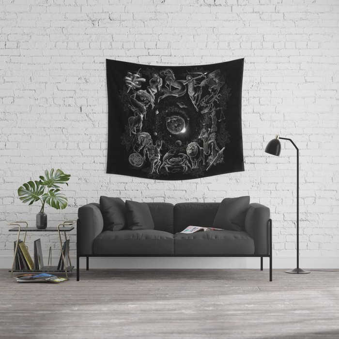 XXI. The World Tarot Card Illustration (Zodiacs) Wall Tapestry