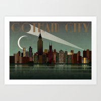 gotham Art Prints featuring Gotham City by WyattDesign